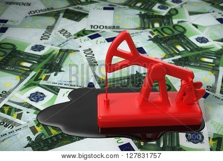 Red Pumpjack And Spilled Oil On Euros. 3D Illustration.