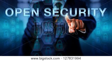 Administrator is pressing OPEN SECURITY on a virtual interactive touch screen. Business metaphor and information technology concept for an open source approach to computer security.