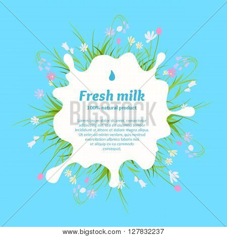 The original concept poster to advertise milk. Vector illustration. Poster for sale of fresh natural milk and dairy products.