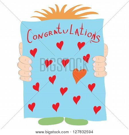 huge poster vector card with hearts and greetings in the hands