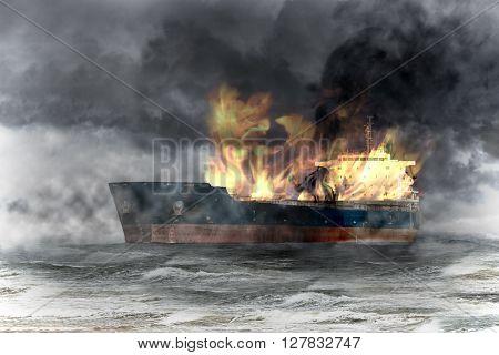 Burning tanker ship on sea at storm.