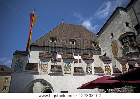 palace facade in hall in tirol during summer
