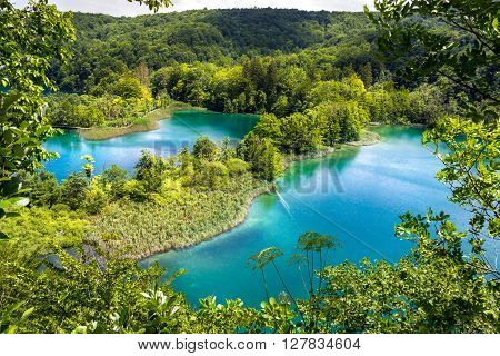 National park The Plitvice Lakes in Croatia. View from above.
