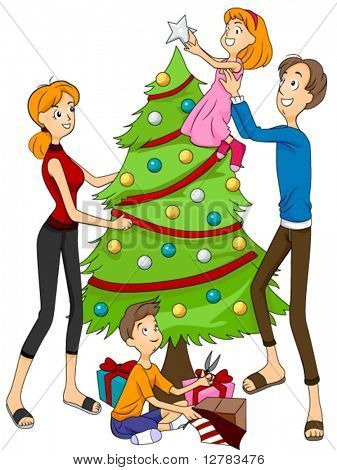 Family Decorating Christmas Tree - Vector