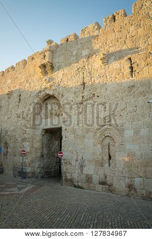 Zion Gate, Part Of The Walls Of The Old City, In Jerusalem