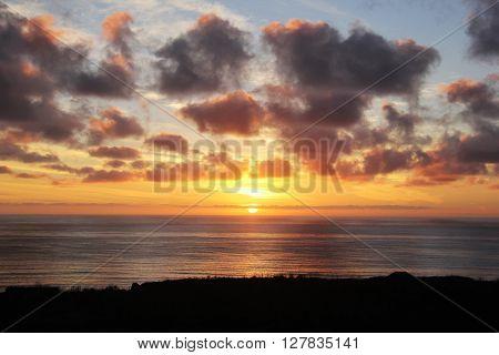 Glorious California Pacific Ocean Sunset near San Diego