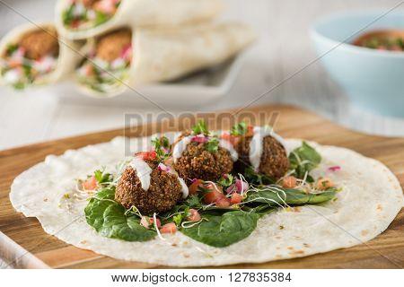 Vegan Falafel Wrap With Salsa