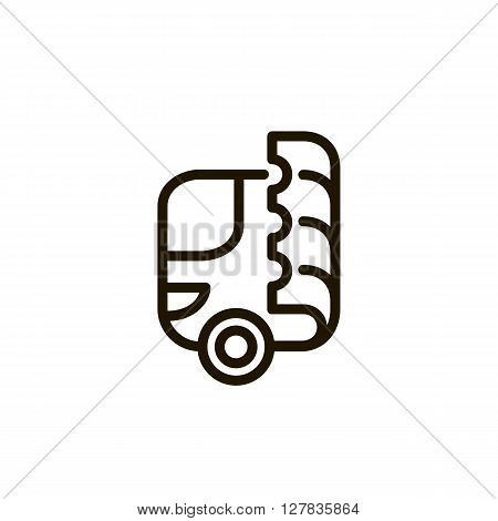 Bus logo. Ticket. Bus and ticket. Online bus tickets. Logo on a white background - stock vector