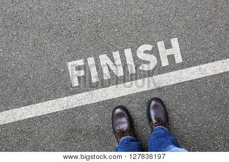 Finish Line Winning Success Running Race Businessman Business Man Concept
