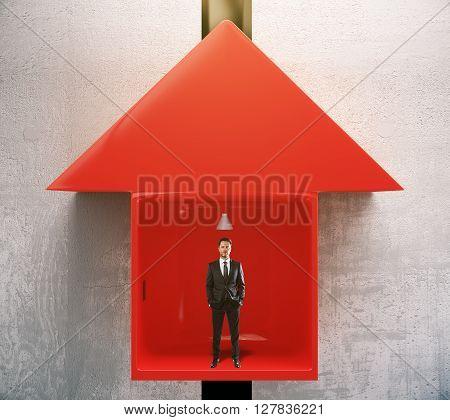 Success Concept Man In Elevator