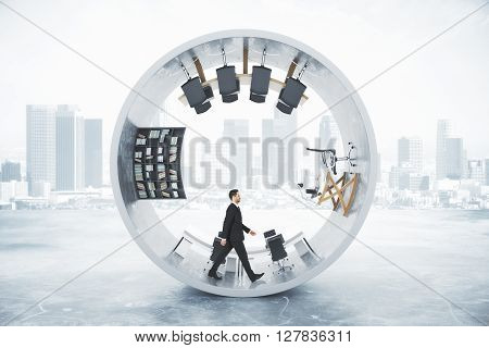 Abstract office interior with businessman inside concrete cylinder on foggy city background. 3D Rendering
