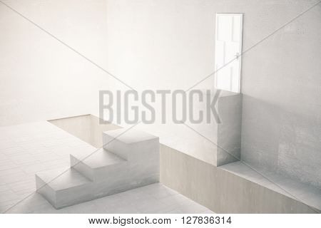 Interior with gap in the middle of stairs leading to white door. 3D Rendering