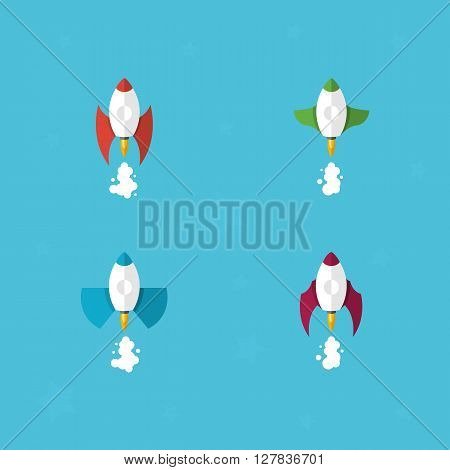 Rocket icons set. Flat rocket icons. Startup concept. Project development. Modern Flat Design Template Vector Illustration - stock vector