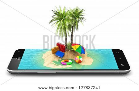 3D render illustration of tropical island resort with blue sea ocean water, sand beach and palm trees on modern black glossy touchscreen smartphone screen or mobile phone display isolated on white background