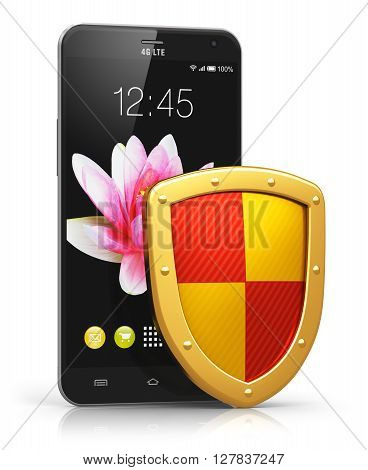 3D render illustration of modern black glossy touchscreen smartphone covered by metal protection shield isolated on white background with reflection effect