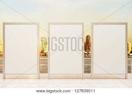 Observation ground with three blank banners and sunlit city background. Mock up 3D Rendering