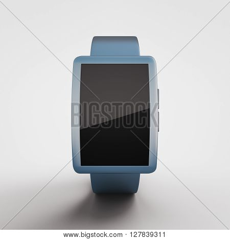 Closeup of blue smartwatch with blank screen on light background. Mock up 3D Rendering