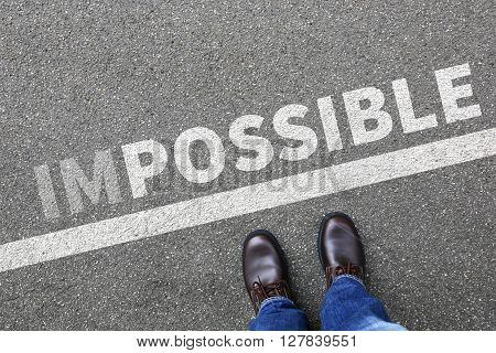 Impossible Possible Success Successful Career Businessman Business Man Concept Motivation