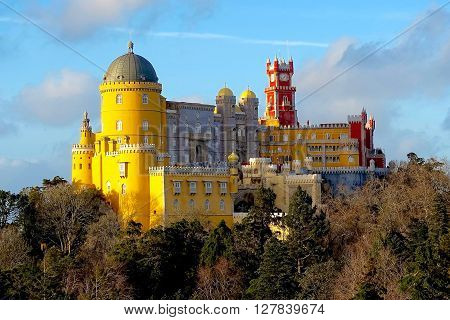 Sintra, Portugal, January 11, 2016: The Palácio Nacional da Pena near Sintra in Portugal
