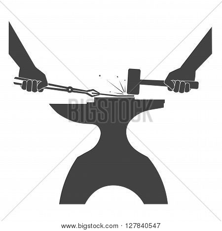 On the image is presented people are forging metal. crafts .On white background
