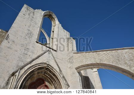 Ruined Carmo Convent a gothic church destroyed by the great Lisbon earthquake of 1755 now a city landmark