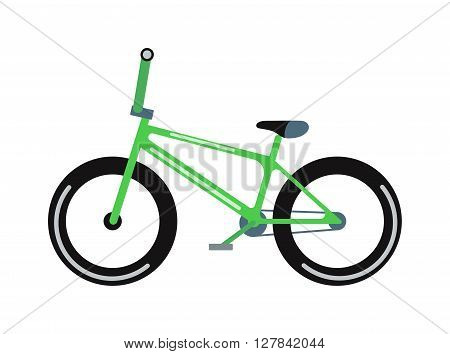 Green bicycle isolated on a white background vehicle, frame cycling pedal gear transportation vector. Green bike gear transportation and brake exercise road red bike. Green mountain bike.