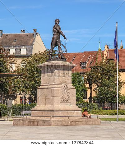 Colmar, France - 18 July, 2014: monument to Jean Rapp on Place Rapp square. Jean Rapp (1771-1821) was a French Army general during the French Revolutionary Wars and the Napoleonic Wars.