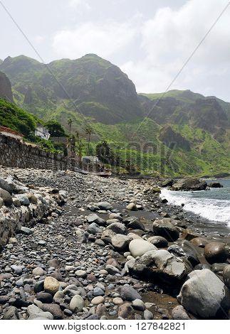 Black San Beach With Rocks