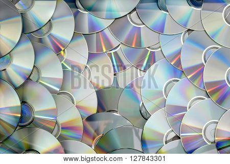 DVD CD disc pile technology background texture pattern