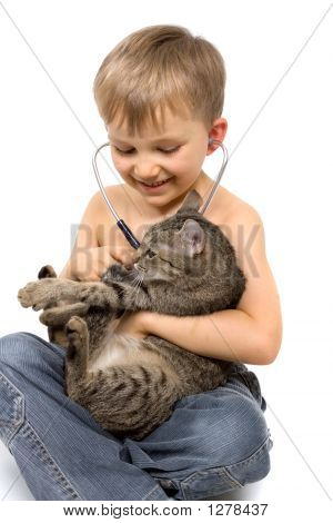 Boy Plays Veterinarian With Cat