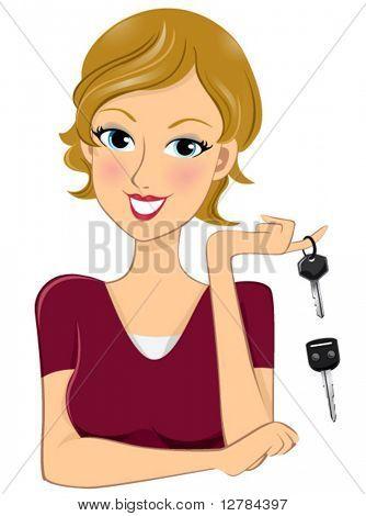 Woman holding Key (extra car key below) - Vector