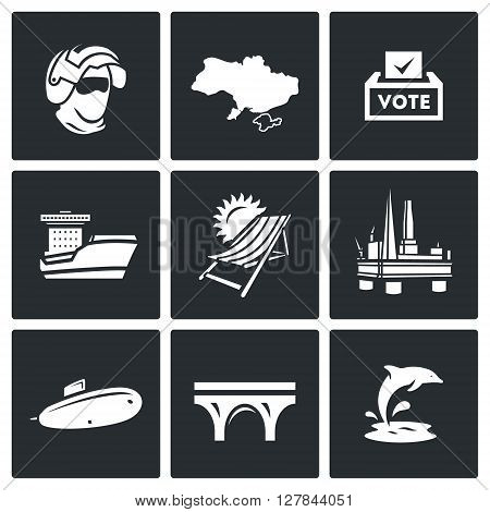 Vector Set of Crimea Icons. Soldier, Peninsula, Voting, Ferry, Resort, Sea Oil Rig, Submarine, Bridge, Dolphin.