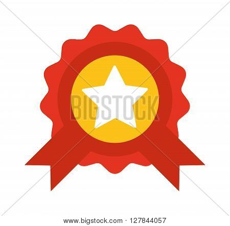 Red label with ribbons and star vector illustration. Award ribbon vector illustration. Award ribbon success badge and award ribbon achievement winner vector. Red sign best emblem champion design.