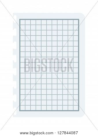 Notebook papers with lines and grid vector illustration. Squared paper notebook sheet background. White squared paper notepad sheet. Empty notepad paper sheet, line list document notepad paper.