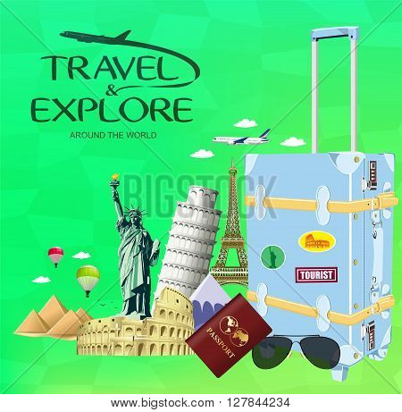 Vector Travel and Explore Around the World with Travel Objects and Transportation with Famous Landmarks of the World on Green Background