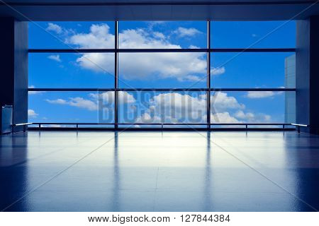 Modern Airport Interior Glass Wall Aisle Window