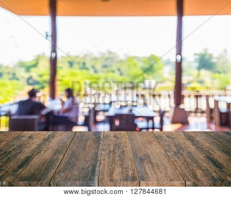 old wood texture with blur restaurant background