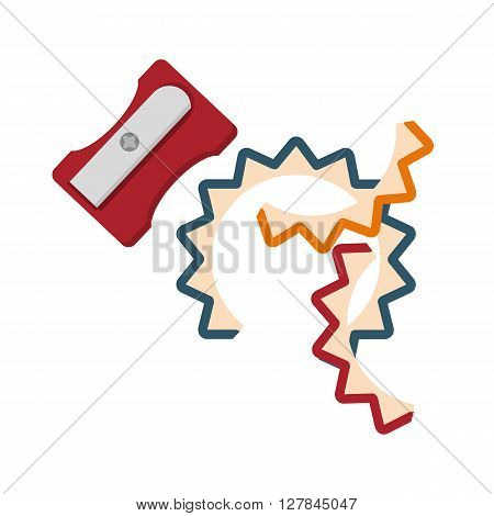 Short pencils and pencil sharpener. Conceptual image of a tool illustrator and artist.Cartoon flat vector illustration. Objects isolated on a background.