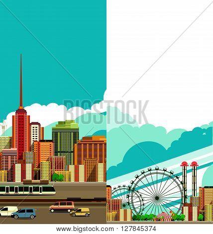 vector illustration flyer poster city building travel city