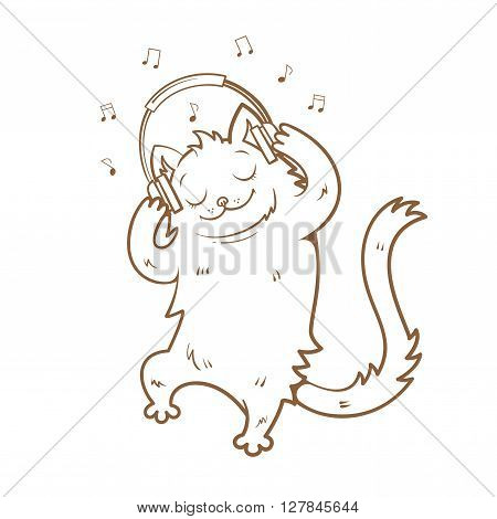 Card with cute cartoon  cat listening to music on headphones. Melody and notes.  Children's illustration. Vector image. Transparent background. Contour image.