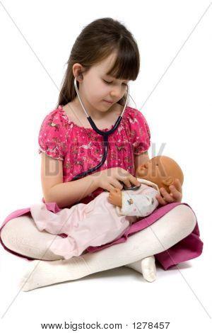 Little Mädchen Arzt mit Stethoskop