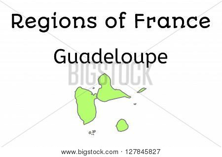 France administrative map of Guadeloupe region on white