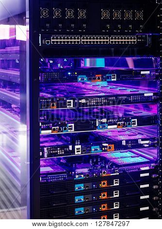 server and disk array with blue backlight