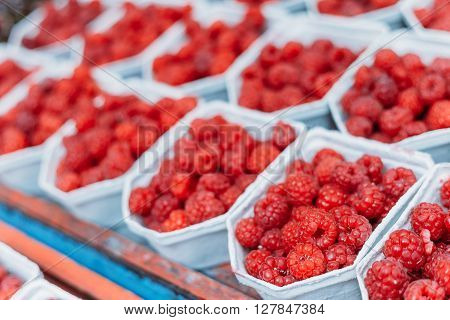 Fresh Yummy Organic Red Berries Raspberries At Market In Trays, Containers.