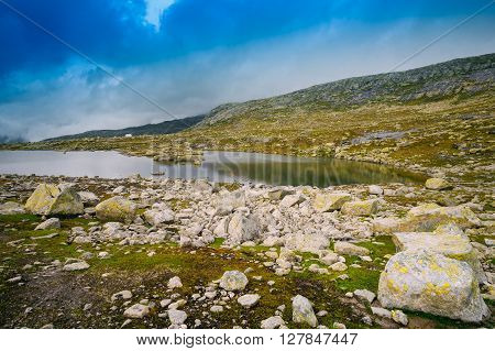 Norwegian Mountains Landscape. Travel. Scenic View Of Mountains Lake In Norway