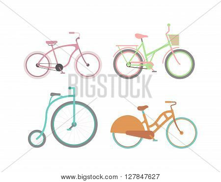 Vector set of old vintage bicycle transport, antique classic design vector. Vintage bicycle transport and design vintage sport bicycle. Vintage bicycle ride girl transportation. Decor pedal bikes engraved.