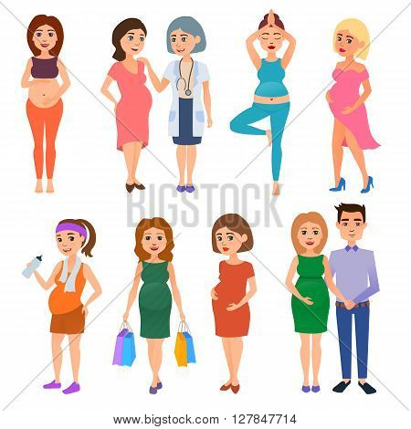 Pregnant woman beautiful belly maternity expecting character vector. Pregnant woman belly, maternity pregnant woman. Pregnant woman baby abdomen happy person. Young anticipation healthy woman.
