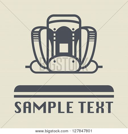 Backpack abstract icon or sign, vector illustration
