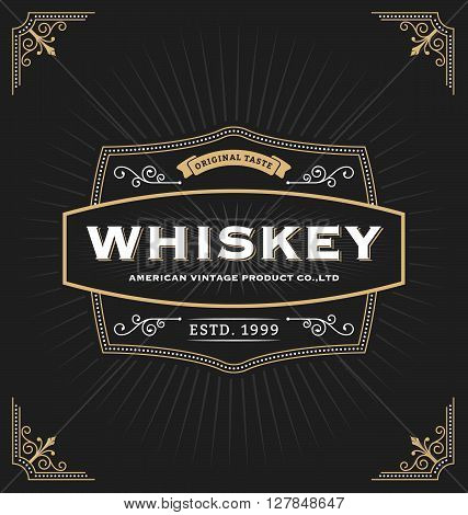 Vintage frame design for labels banner logo emblem menu sticker and other design. Suitable for whiskey beer coffee shop hotel resort jewelery and premium product. All type use free font.
