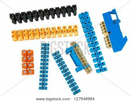 Components for use in electrical installations on white background